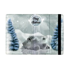 Cute Polar Bear Baby, Merry Christmas Apple Ipad Mini Flip Case by FantasyWorld7
