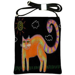 Cat With Sun Abstract Art Shoulder Bag Shoulder Sling Bags by paintedpurses