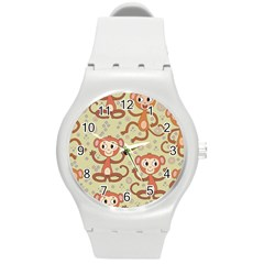 Cute Cartoon Monkeys Pattern Round Plastic Sport Watch (m) by allthingseveryday