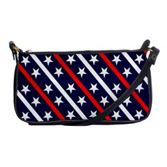 Patriotic Red White Blue Stars Shoulder Clutch Bags by Celenk