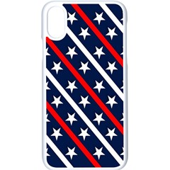Patriotic Red White Blue Stars Apple Iphone X Seamless Case (white) by Celenk