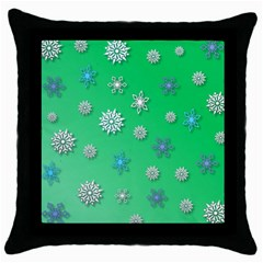 Snowflakes Winter Christmas Overlay Throw Pillow Case (black) by Celenk