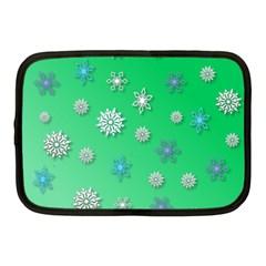 Snowflakes Winter Christmas Overlay Netbook Case (medium)  by Celenk
