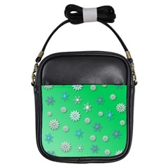 Snowflakes Winter Christmas Overlay Girls Sling Bags by Celenk