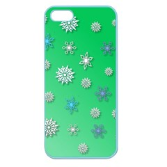 Snowflakes Winter Christmas Overlay Apple Seamless Iphone 5 Case (color) by Celenk