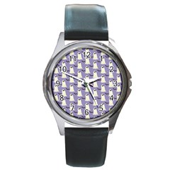 Bat And Ghost Halloween Lilac Paper Pattern Round Metal Watch by Celenk