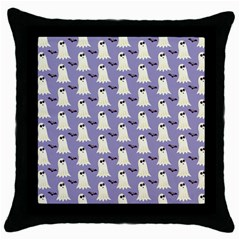 Bat And Ghost Halloween Lilac Paper Pattern Throw Pillow Case (black) by Celenk