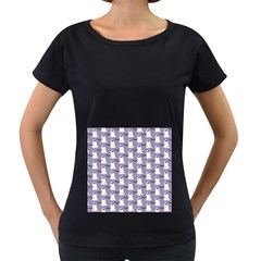 Bat And Ghost Halloween Lilac Paper Pattern Women s Loose Fit T Shirt (black) by Celenk