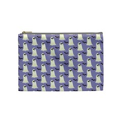 Bat And Ghost Halloween Lilac Paper Pattern Cosmetic Bag (medium)  by Celenk