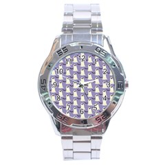 Bat And Ghost Halloween Lilac Paper Pattern Stainless Steel Analogue Watch by Celenk