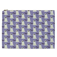 Bat And Ghost Halloween Lilac Paper Pattern Cosmetic Bag (xxl)  by Celenk