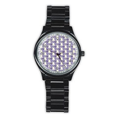 Bat And Ghost Halloween Lilac Paper Pattern Stainless Steel Round Watch by Celenk