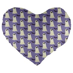 Bat And Ghost Halloween Lilac Paper Pattern Large 19  Premium Flano Heart Shape Cushions by Celenk