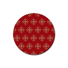 Pattern Background Holiday Rubber Coaster (round)  by Celenk