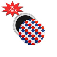 Geometric Design Red White Blue 1 75  Magnets (10 Pack)  by Celenk