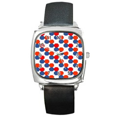 Geometric Design Red White Blue Square Metal Watch by Celenk