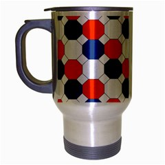 Geometric Design Red White Blue Travel Mug (silver Gray) by Celenk