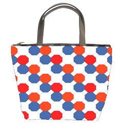 Geometric Design Red White Blue Bucket Bags by Celenk
