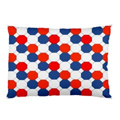 Geometric Design Red White Blue Pillow Case by Celenk