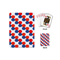 Geometric Design Red White Blue Playing Cards (mini)  by Celenk