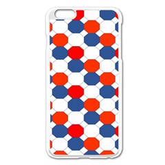 Geometric Design Red White Blue Apple Iphone 6 Plus/6s Plus Enamel White Case by Celenk