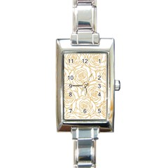 Yellow Peonies Rectangle Italian Charm Watch by 8fugoso