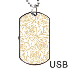 Yellow Peonies Dog Tag Usb Flash (one Side) by 8fugoso
