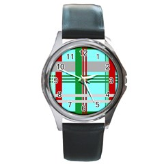 Christmas Plaid Backgrounds Plaid Round Metal Watch by Celenk