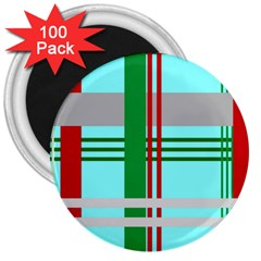 Christmas Plaid Backgrounds Plaid 3  Magnets (100 Pack) by Celenk