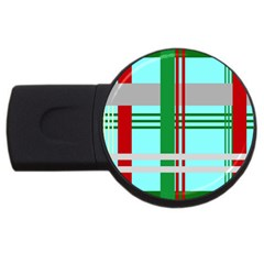 Christmas Plaid Backgrounds Plaid Usb Flash Drive Round (2 Gb) by Celenk