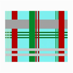 Christmas Plaid Backgrounds Plaid Small Glasses Cloth (2 Side) by Celenk