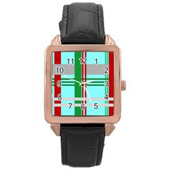 Christmas Plaid Backgrounds Plaid Rose Gold Leather Watch  by Celenk
