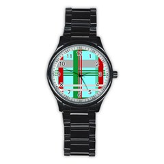 Christmas Plaid Backgrounds Plaid Stainless Steel Round Watch by Celenk