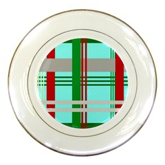 Christmas Plaid Backgrounds Plaid Porcelain Plates by Celenk
