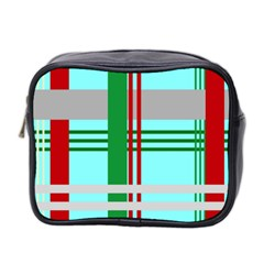 Christmas Plaid Backgrounds Plaid Mini Toiletries Bag 2 Side by Celenk