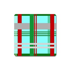 Christmas Plaid Backgrounds Plaid Square Magnet by Celenk