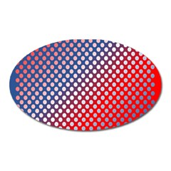 Dots Red White Blue Gradient Oval Magnet by Celenk