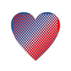 Dots Red White Blue Gradient Heart Magnet by Celenk