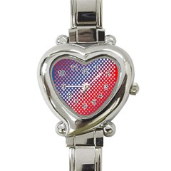 Dots Red White Blue Gradient Heart Italian Charm Watch by Celenk