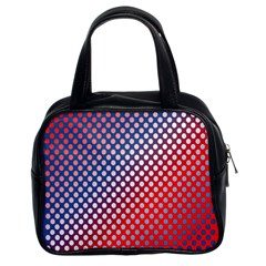 Dots Red White Blue Gradient Classic Handbags (2 Sides) by Celenk