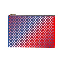 Dots Red White Blue Gradient Cosmetic Bag (large)  by Celenk