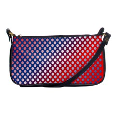 Dots Red White Blue Gradient Shoulder Clutch Bags by Celenk