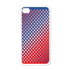 Dots Red White Blue Gradient Apple Iphone 4 Case (white) by Celenk