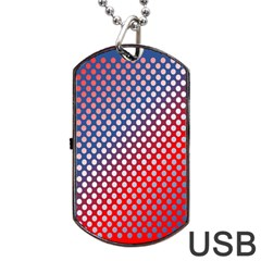 Dots Red White Blue Gradient Dog Tag Usb Flash (two Sides) by Celenk