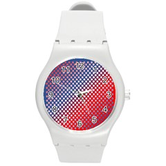 Dots Red White Blue Gradient Round Plastic Sport Watch (m) by Celenk