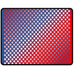 Dots Red White Blue Gradient Double Sided Fleece Blanket (medium)  by Celenk