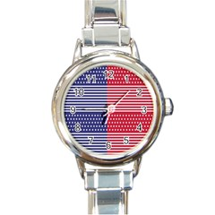 American Flag Patriot Red White Round Italian Charm Watch by Celenk