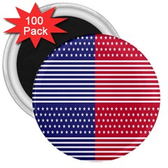 American Flag Patriot Red White 3  Magnets (100 Pack)