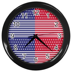 American Flag Patriot Red White Wall Clocks (black)