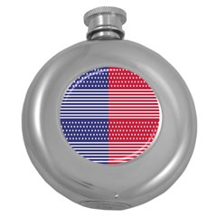 American Flag Patriot Red White Round Hip Flask (5 Oz) by Celenk